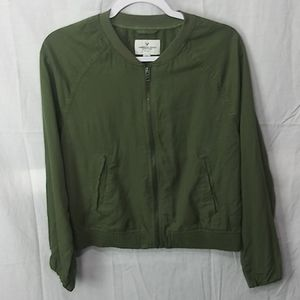 American Eagle olive bomber jacket size small